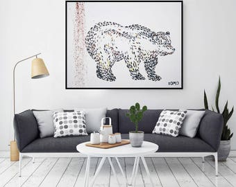 Oil Painting, original oil painting, Bear oil painting, Wall Art, Canvas Art, Gift For Women, Abstract Painting, Large Wall Art On Canvas