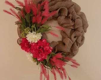 Burlap Wreath with Flowers & Greenery