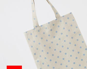 Floral Tote//Cotton Linen Tote bag//Daily Tote Bag//Eco Bag//Market Bag// Shopping Bag//Library Bag//Gift bag//Grocery bag//Tote//#3