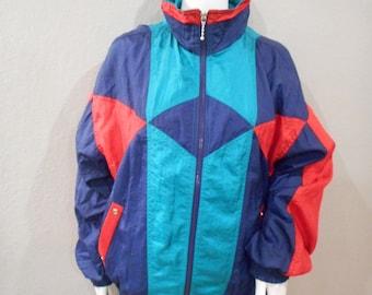 80s windbreaker, track jacket, size medium men's, size large womens
