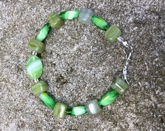 Green Beaded Bracelet Gift for Her Green Jewelry One of a Kind