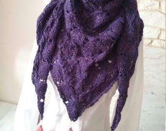 Shawl is hand purple Alpaca yarn diamond and tassels