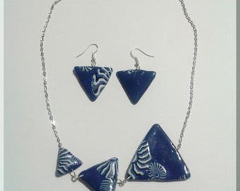 Necklace set - Earrings blue Triangle and blue and white geometric patterns