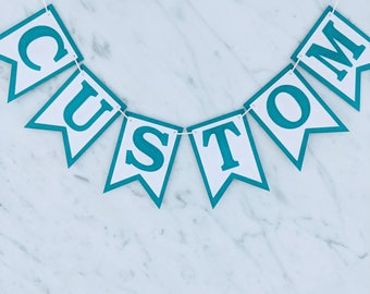 Teal/Turquoise & White Custom Personalised Bunting - Birthday Wedding Engagement Baby Shower Baptism Hens Bucks Party Banner Garland Sign