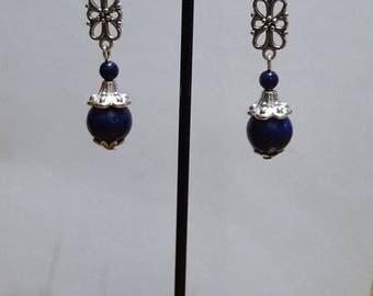 Genuine filigree and lapis lazuli earrings