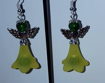 """Angels"" green earrings"