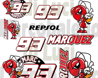 Set of 12 Stickers Marc Marquez Stickers 93 red Ant Grip Printed Vinyl Gp Waterproof cut to Plotter A4 or A3 size