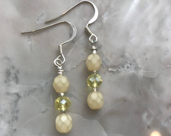 Yellow Swarovski Bead Earrings