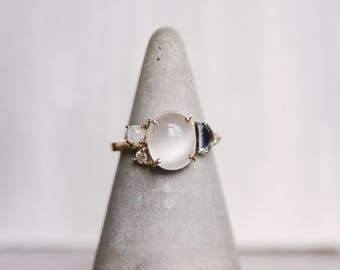 Moonstone Ring Engagement Ring Bridal Jewelry Custom Diamond Ring Gemstone Ring Gift For Her Gold Ring Topaz Wedding Jewelry Bridal Jewelry