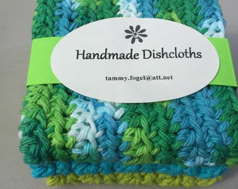 Crocheted Dishcloths, set of three, 100% Cotton