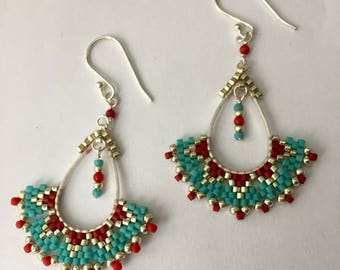 Lola earrings - Turquoise and Red