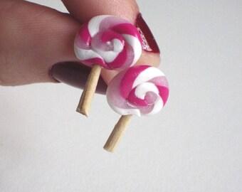 Small earrings greedy, candy: Lollipop, (chips) pink lollipop - ideal for girl - for pierced ears