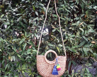 Straw Bag, Crossbody Bag, Top Handles Bag, Thai Weaving Waterhyacinth