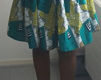 Blue African multi print skirt
