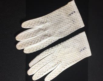 White lacefront leather kid gloves vintage