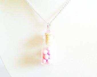 "necklace ""vial small pink Strawberry candy"""