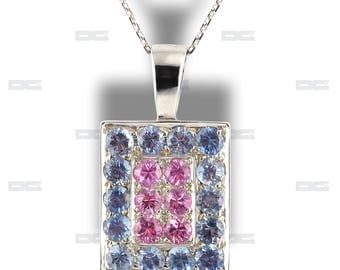 Pendant white gold 18 k, pink and blue sapphires