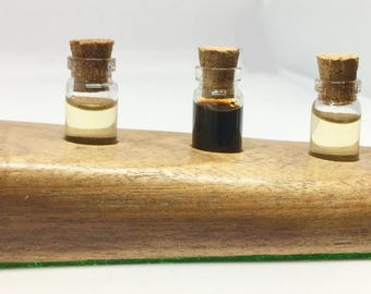 5x sml Glass Vial Bottles/ Scent Bottles and Mahogany Stand/Base