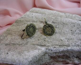 Stud Earrings in brass and Pyrite gemstones