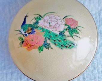 Ceramic Peacock & Peony, Trinket/Ring Box, Japanese