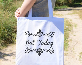 Natural Bag, Natural Canvas Tote Bag, Bag for Shopping with  Funny Not Today Caligraphy Style Slogan Phrase Ornament