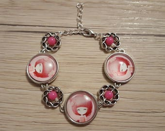 bracelet in silver cabochon 20mm and Fuchsia beads