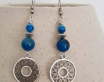Silver bead charm blue agate bead silver plated hook earrings