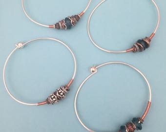 Silver and Copper Wire Wrapped Bracelet - Beach Girls Beads and Bling