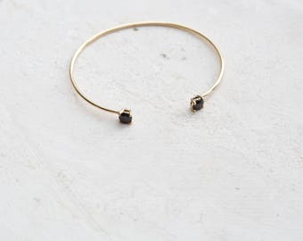 Open Bangle Bracelet - Black CZ Bangle - Open cuff - Delicate bracelet - delicate jewelry