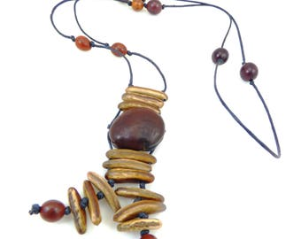 Natural exotic seed necklace