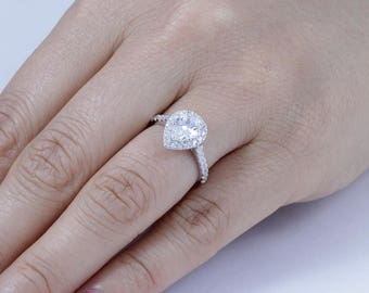 Pear Halo 925 Sterling Silver CZ Engagement Ring Wedding Band Size 3-12 SS004A