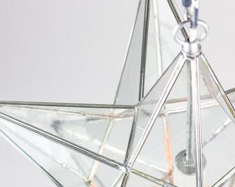 Moravian Star of Bethlehem Lamp Seeded Clear Glass & Metal Pendant Light -  Handmade to Order