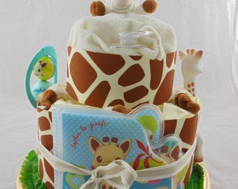 (Mixed gift idea) giraffe diaper cake