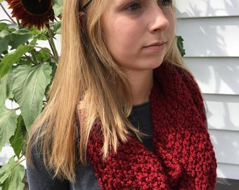 Hand knit barn red infinity scarf