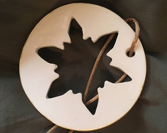 Handmade Ceramic Snowflake Christmas Ornament - Gold Edged