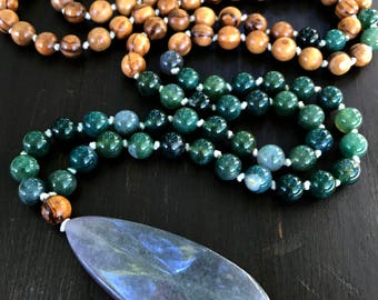 Mala Necklace - Green Moss Agate with Olivewood Beads