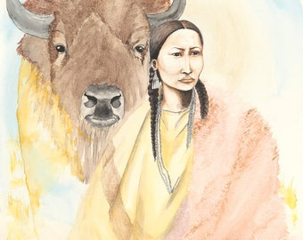 Buffalo Woman Archival Giclée Print on Archival Fine Art Paper Made of Cotton