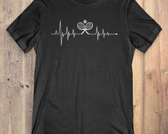 Tennis T-Shirt Gift: Heartbeat Tennis
