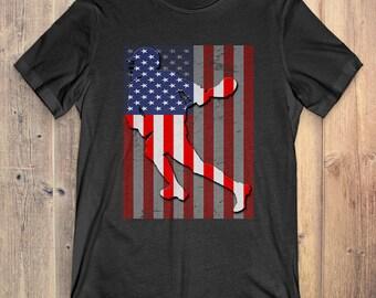 Lacrosse T-Shirt Gift: American Flag