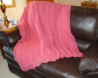 Crochet Afghan, Crochet Blanket, Crochet Throw, Rose Afghan