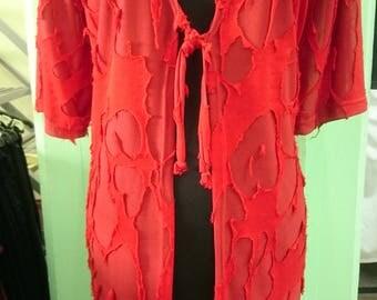 Red sheer cardigan | Etsy