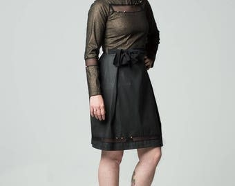 black and gold cotton and mesh dress