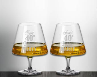 Set of 2 Happy Birthday Snifter Glass Custom Personalized