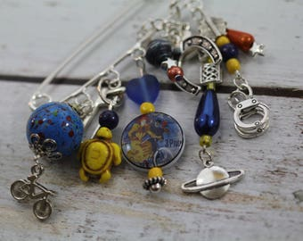 O the beautiful blue! PIN charms and beads