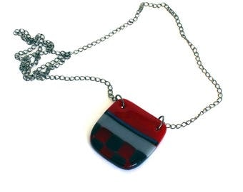 Fused glass pendant on long chain/Handmade chunky curved hipster necklace//Red and grey geometric pendant with dichroic blue stripe