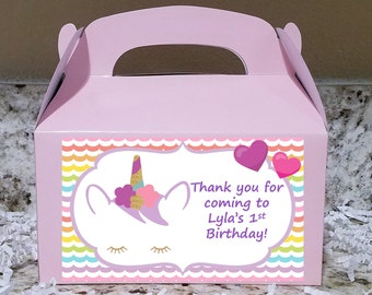 Sale! 12 Unicorn Treat Boxes, Unicorn Gable Boxes, Unicorn Candy Boxes, Unicorn Party Boxes
