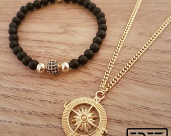 Compass necklace,Mens necklace, compass necklace men, mens jewelry set, mens gift, gold compass necklace