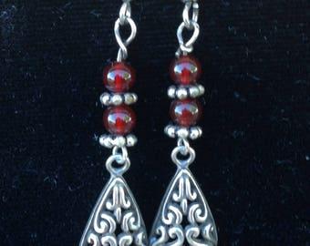 Handmade Jewelry Original design Carnelian and silver dangle earrings