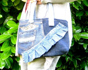 Vintage Patchwork Handbag - Ruffled vintage denim Patchwork handbag