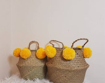 Seagrass Belly Pom Pom Basket | With Yellow Pom Poms | Storage Basket Kids Nursery Plant Pot Planter Kids Room Bedroom
